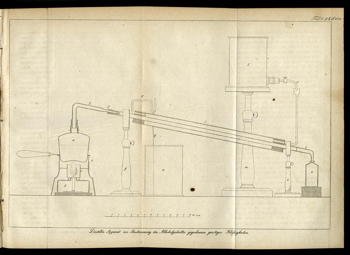 Diagram Of A Distilling Apparatus In Die Gährungschemie Wissenschaftlich  Begründet Und In Ihrer Anwendung Auf Die Bierbrauerei, Branntweinbrennerei,  ...